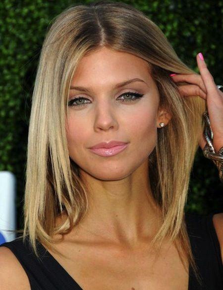 Sleek Medium Hairstyle for Fine Hair - Deep Center Part Straight Sleek Blonde Locks