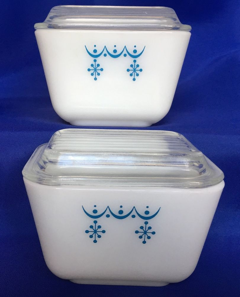 2 Pyrex Snowflake Blue Garland Refrigerator Dish And Lid 501 B Cover 1.5 Cup VTG #Pyrex #Fridgie