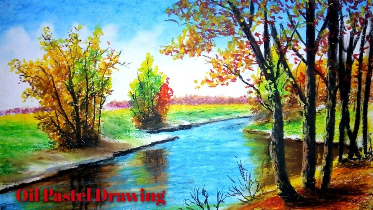 Easy Landscape Drawing How To Drawing How To Draw Riverside Landscape Oil Pastel Dra In 2020 Oil Pastel Drawings Oil Pastel Landscape Easy Landscape Paintings