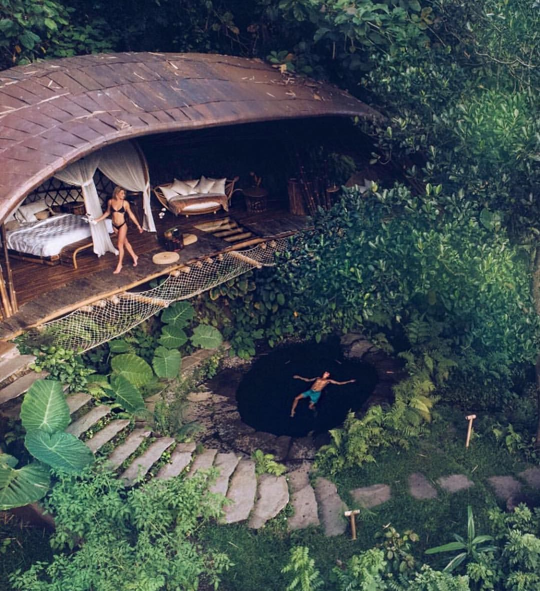 Floating And Flying Above Moon House Nestled In The Jungle At Bambu Indah Move In With Us Celiasmith Jungle House Tree House Designs Cool Tree Houses
