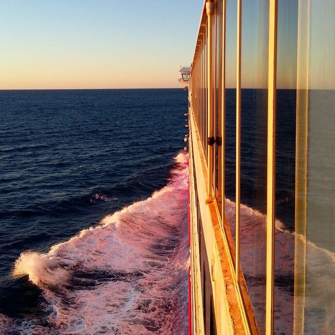 "Ferry ""Spirit of Tasmania I"" just after leaving the port of Dovenport in Tasmania on its daily service to Melbourne Australia #ferry #sunset #blue #red #sky #skywatcher #noclouds #sea #best_skyshots #bestoftheday #endoftheworld #topsunsetshots #topoftheworld #exploretocreate #exploreeverything #enjoylife #enjoy #lifeofadventure #mylife #adventure #likes4likes #likesforlikes #travelling #travel #travelblog by coollibre"