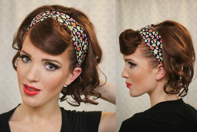 coiffure pin up 30 id es et tutos de style rockabilly glamour bandana cheveux detacher et pin. Black Bedroom Furniture Sets. Home Design Ideas