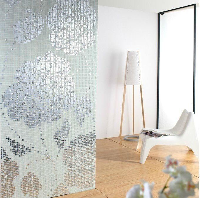 White And Silver Glass Mosaic Pattern Design Mirror Wall Backsplash Tiles  Crystal Glass Tile For Wall