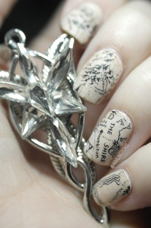 Cool lotr map nails tutorial beauty ideas pinterest map cool lotr map nails tutorial prinsesfo Images