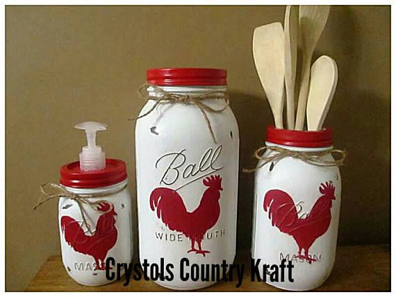 Rooster Chicken Kitchen Sets Red Rooster Soap Dispenser Rooster Cookie Jar Rooster Utensil Holder Country Rustic Mason Jar Canisters Mason Jar Diy Jar Crafts Mason Jar Crafts