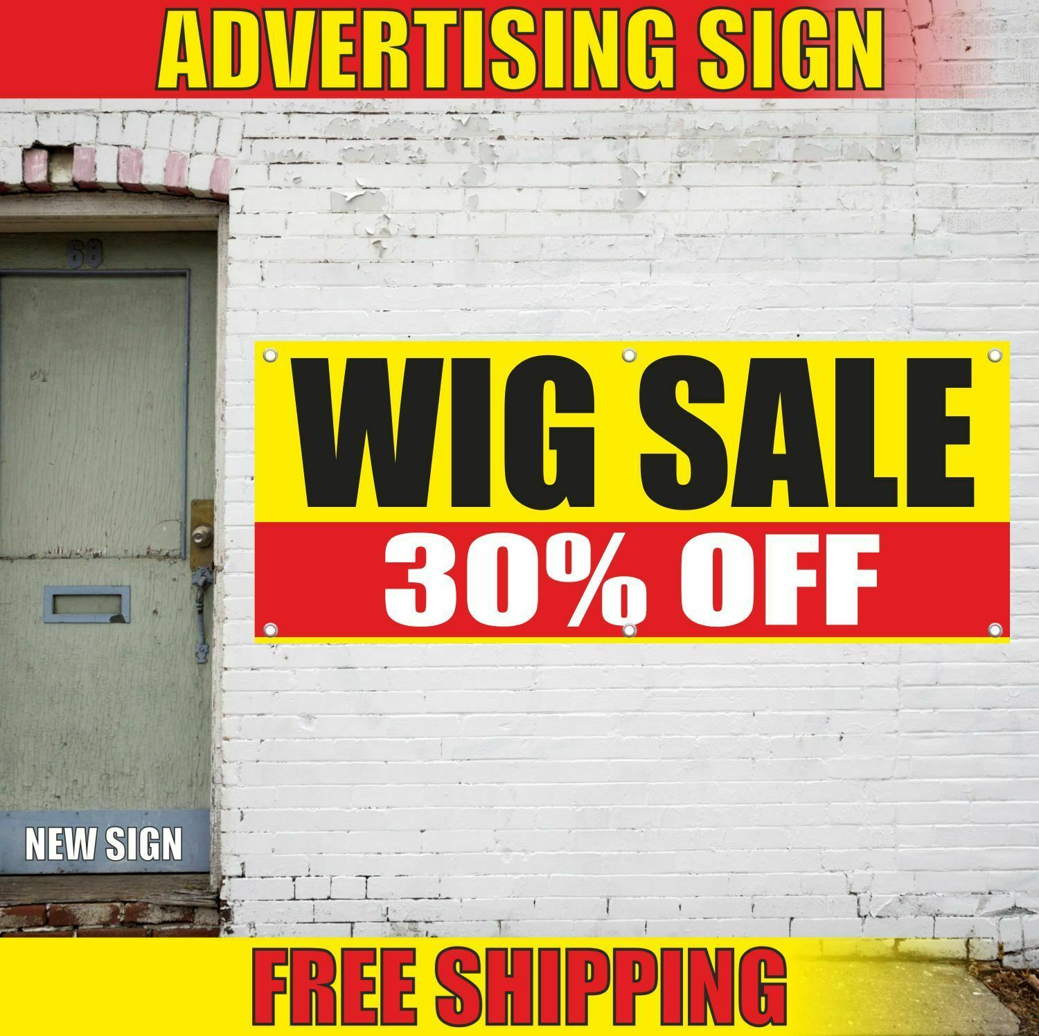 Wig Sale 30 Off Advertising Banner Vinyl Mesh Decal Sign Toupee Hair Discount