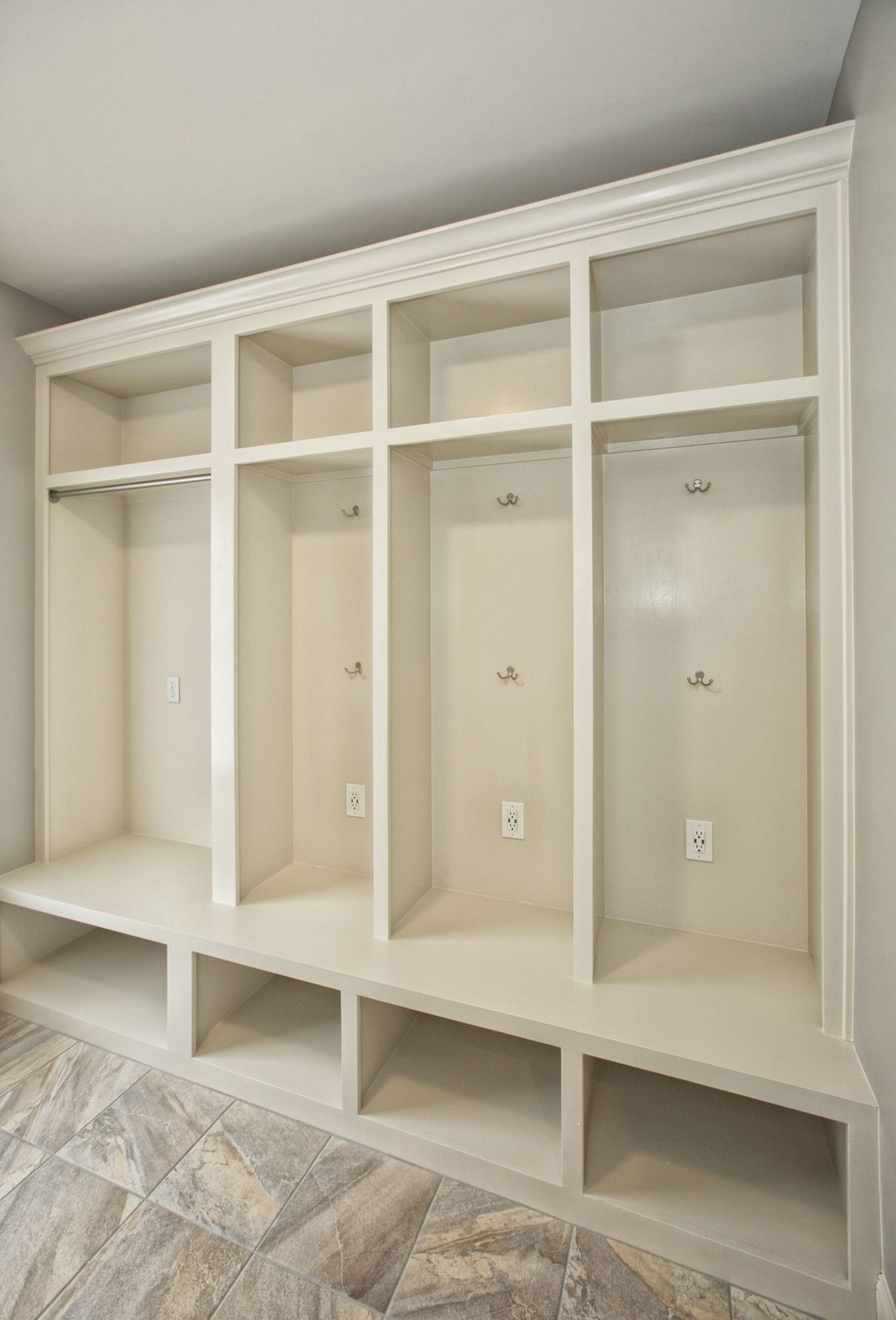 Mudroom Cubbies With Usb Charging Station In A Laundry Room Remodel
