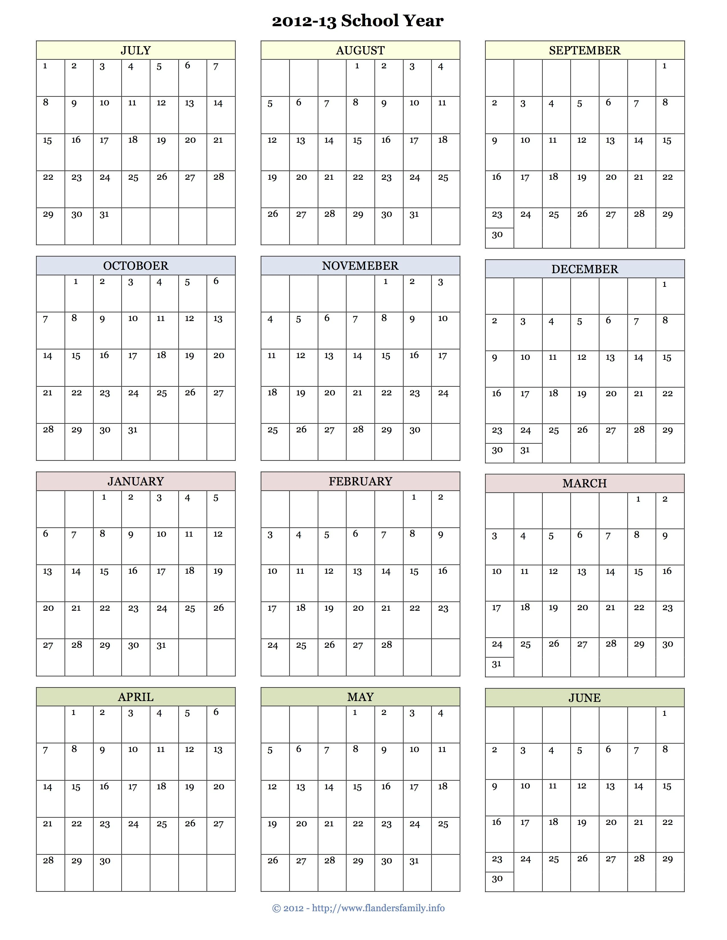 New School Academic Calendar >> Free Printable Calendars For 2013 And The Coming School Year