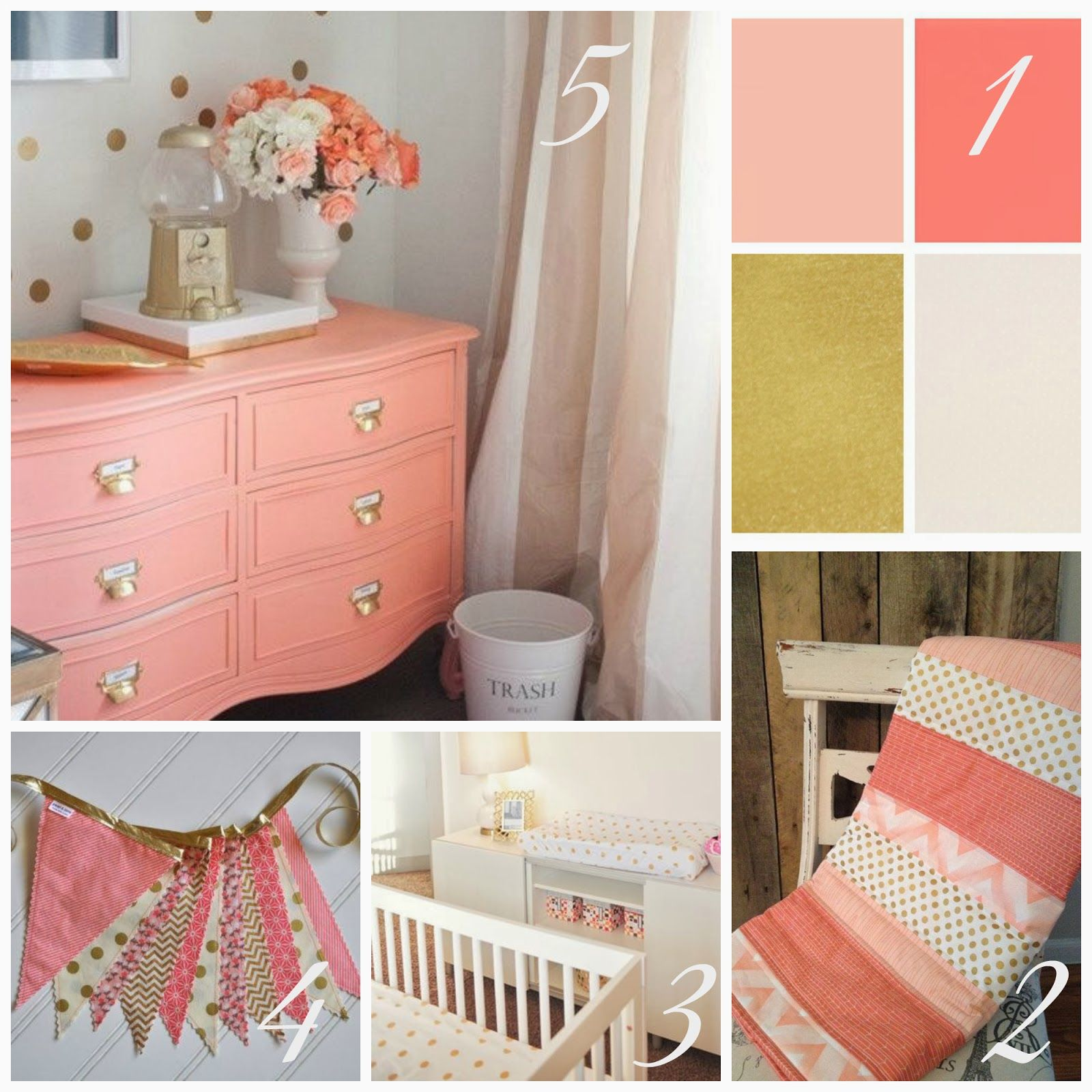 Marion S Coral And Gold Polka Dot Nursery: Coral And Gold Nursery - Google Search