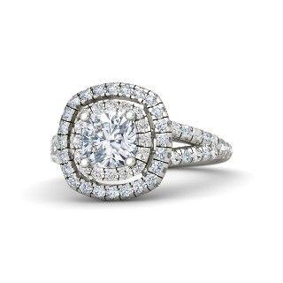 Cushion Blue Topaz 14K White Gold Ring with Aquamarine & White Sapphire - lay_down