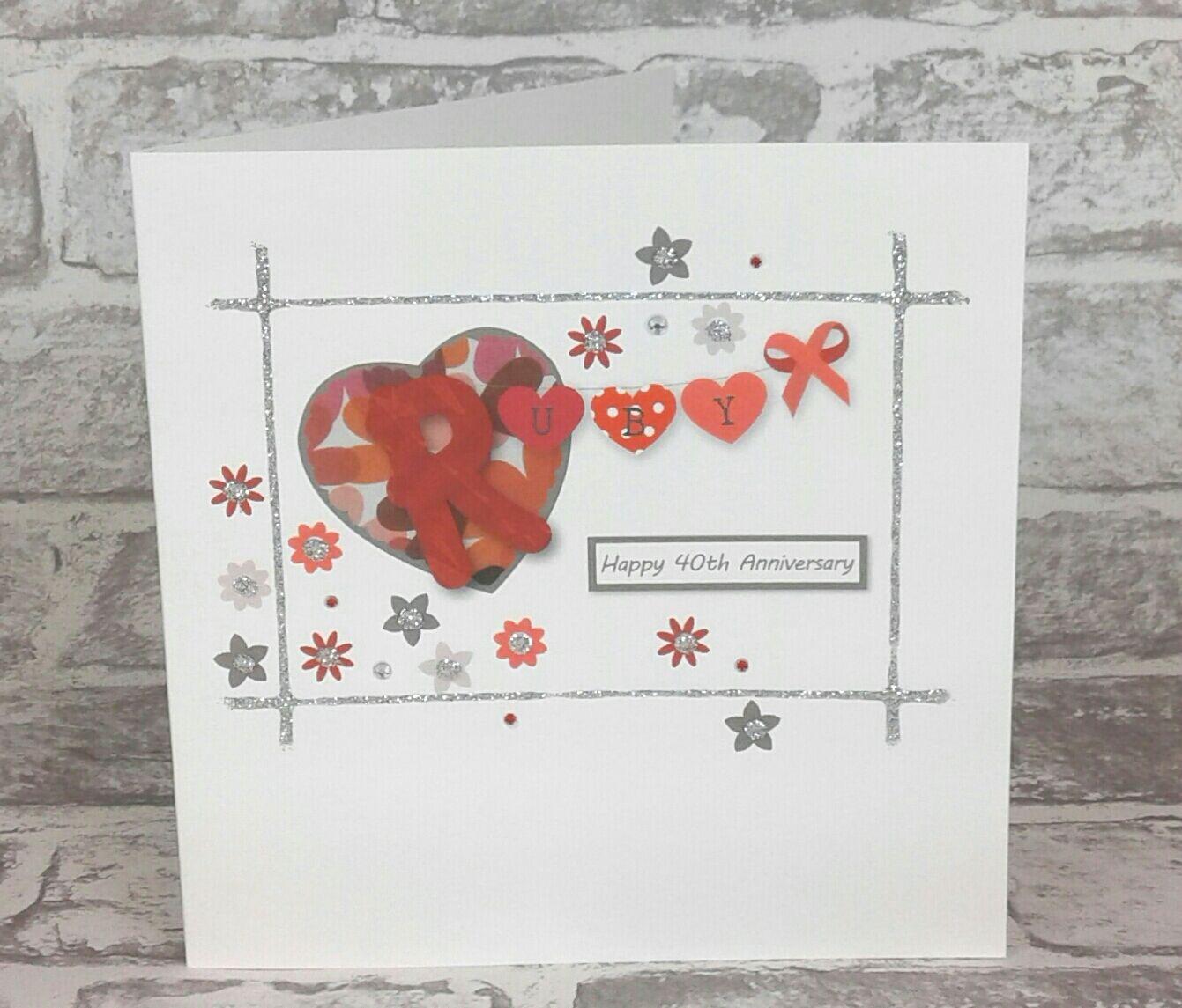 40th Wedding Anniversary Card Ruby Anniversary