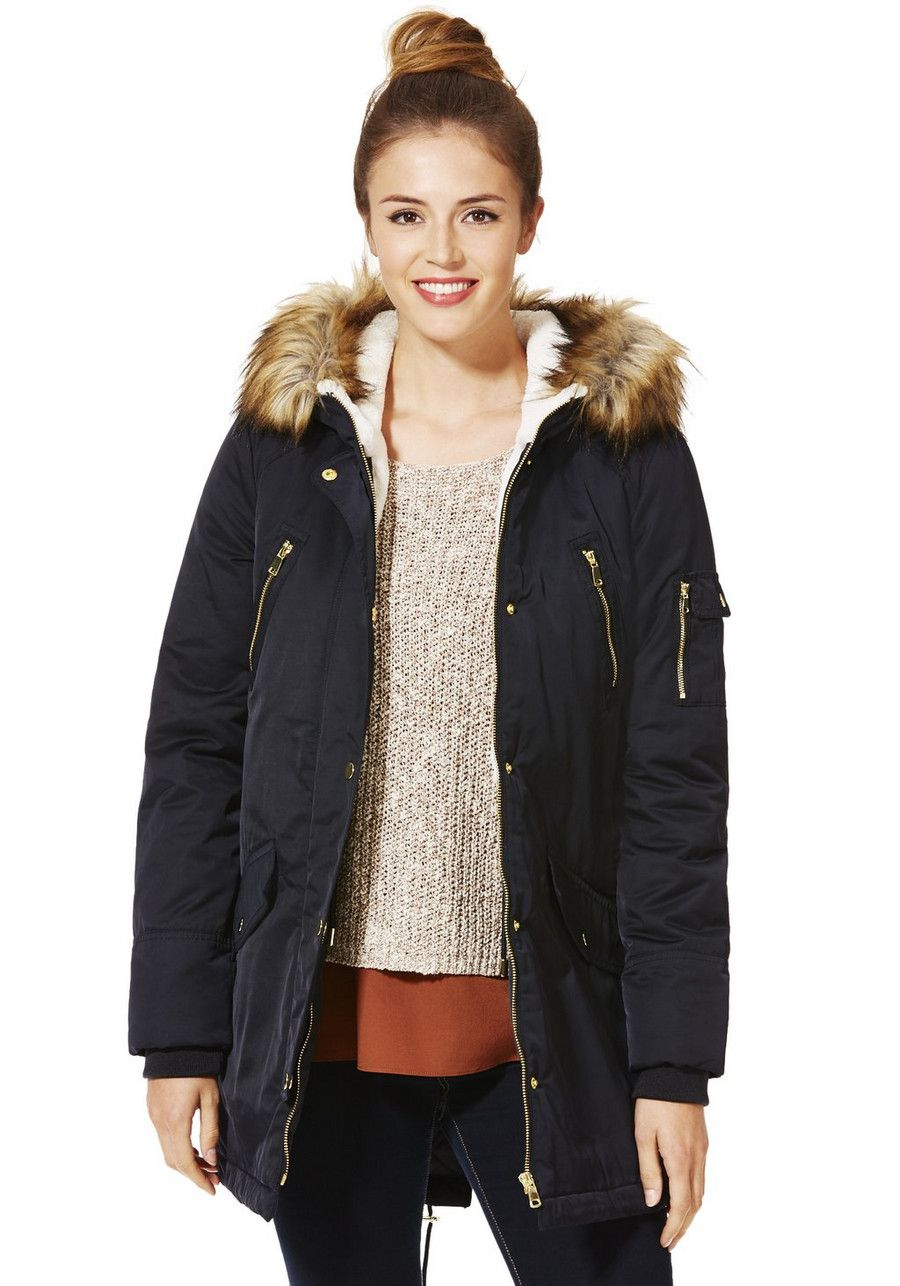 4498a13a0 Clothing at Tesco | F&F Faux Fur Trim Hooded Parka > jackets > New ...