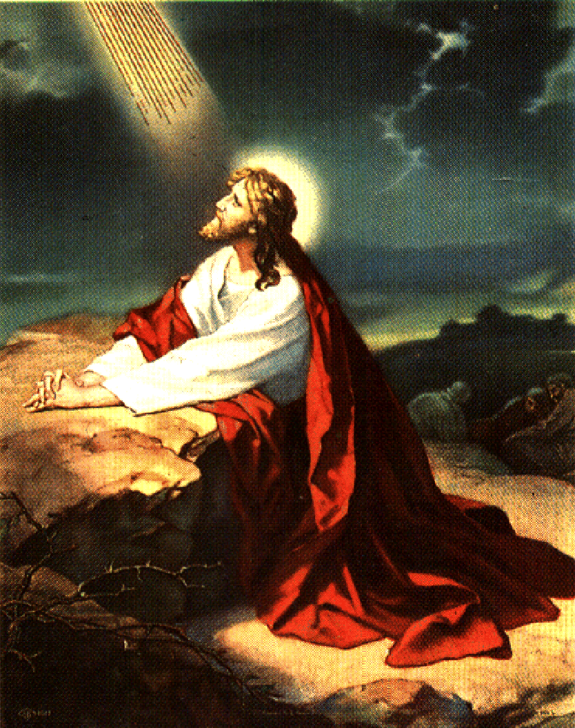 bright drawing picture of jesus praying to god in the gethsemane garden download free bible