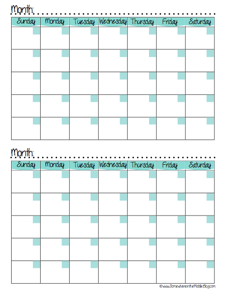 Monthly Meal Planning Tracking Calendar  Organising Ideas