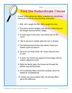 Find The Subordinate Clause Teaching Sentence Structure