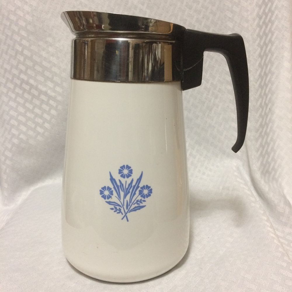 Vintage Corning Ware 9 Cup Stove Top Coffee Pot Blue Cornflower No Percolator Corningware Doesnotly
