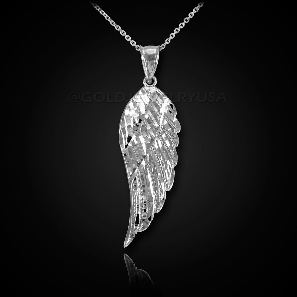 Details About 10k White Gold Praying Angel Wing Pendant Necklace Pendant Necklace Pendants Jewelry