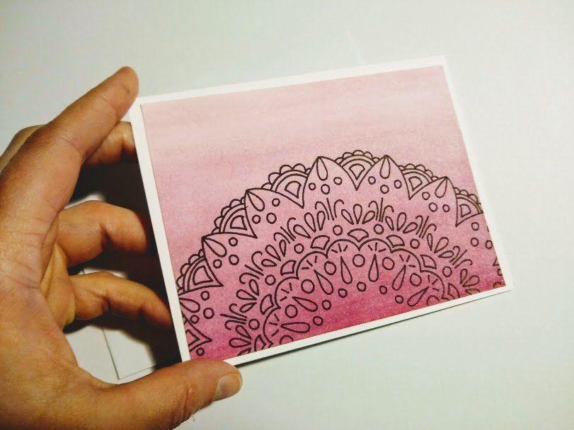 Mandala Greeting Card Hand Drawn Mandala On A Hand Painted