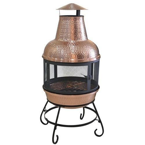 Copper Chiminea Outdoor Fireplace Wood Burning Stove Portable Fire