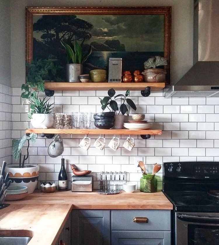 Love the art on the shelf. | \\ The Old Homeplace | Kitchen ...