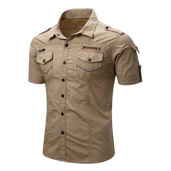 26c1c45ba6c Men s Turn-Down Collar Pocket Design Cargo Shirt (KHAKI