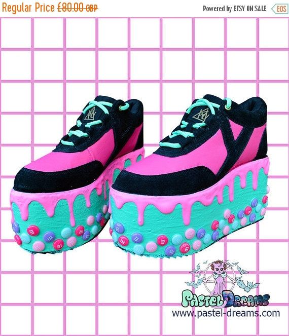 42f2a264d5bad Candyholic drippy platforms cupcake candy custom made shoes, Kawaii ...