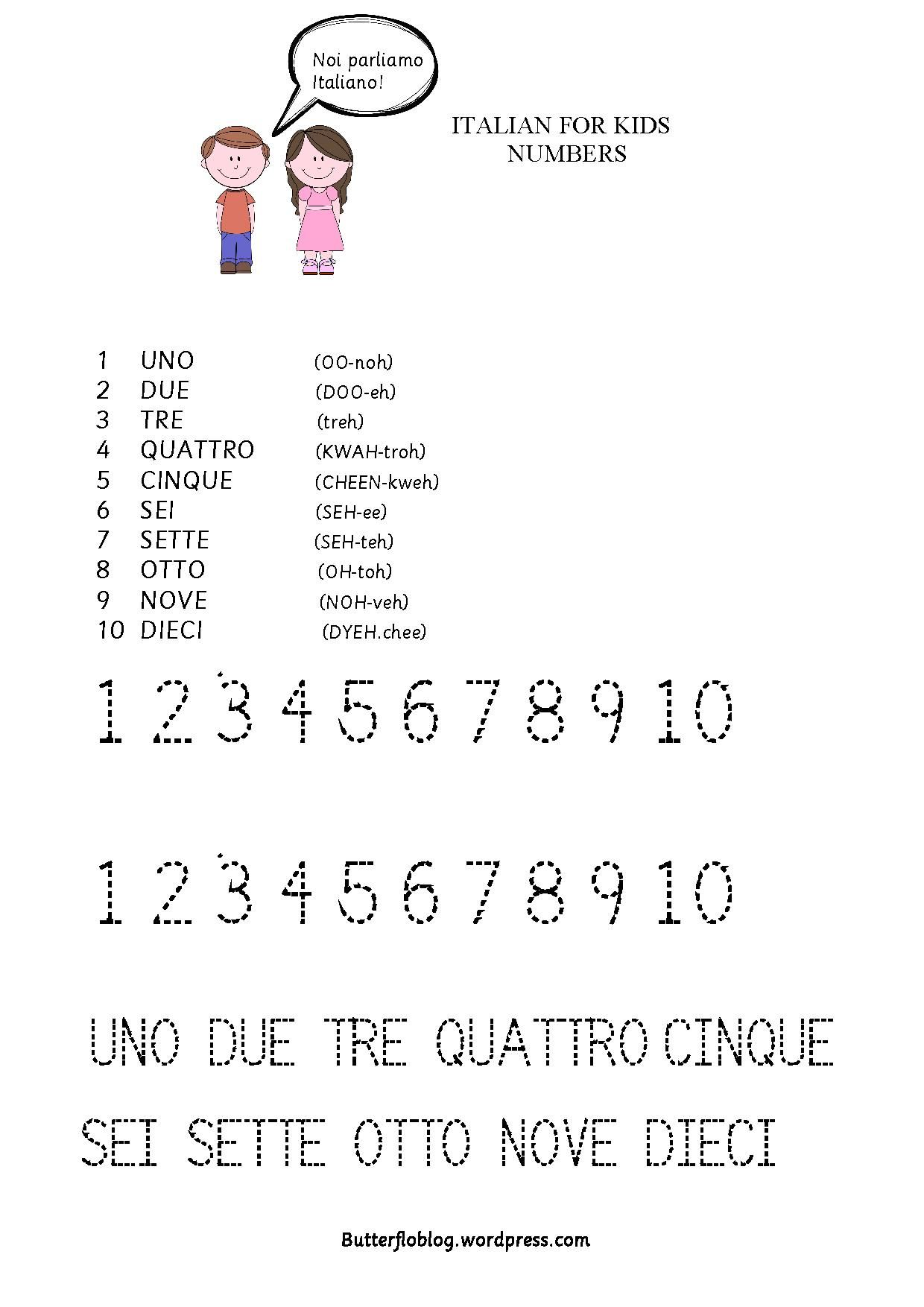 worksheet Italian Worksheets italian for kids worksheets learning and language teach the numbers 1 10 activityforkids