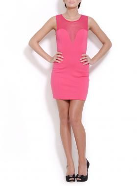 Lush  Woven Mesh Overlay Dress