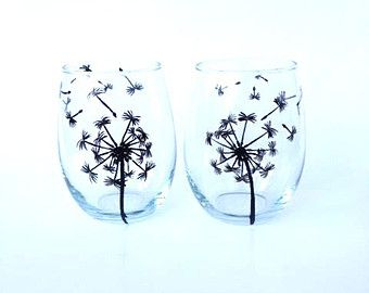 Dandelion hand painted stemless wine glasses Set of 2