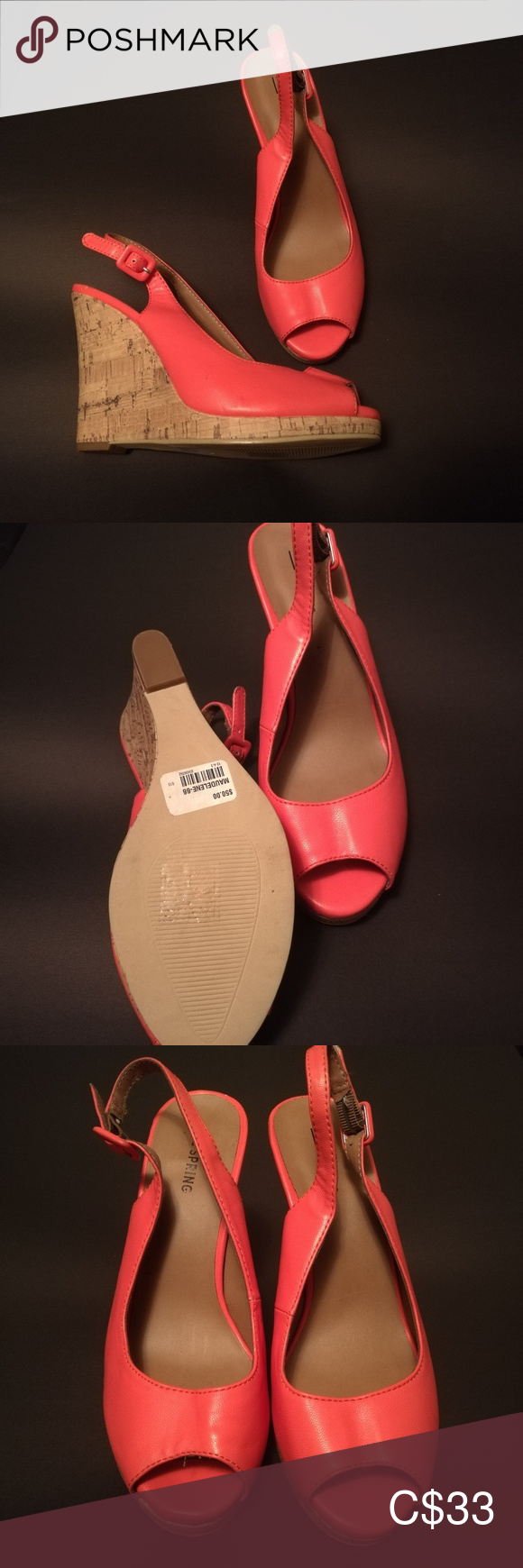 Call it Spring Coral Wedges Call it Spring pinky-coral slingback wedges with a 5 cork heel. Excellent condition, size 8.5. Call It Spring Shoes Wedges #shoewedges