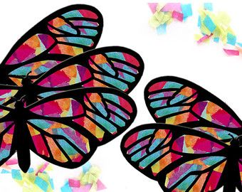 Kids craft butterfly stained glass suncatcher kit by for Butterfly stained glass craft