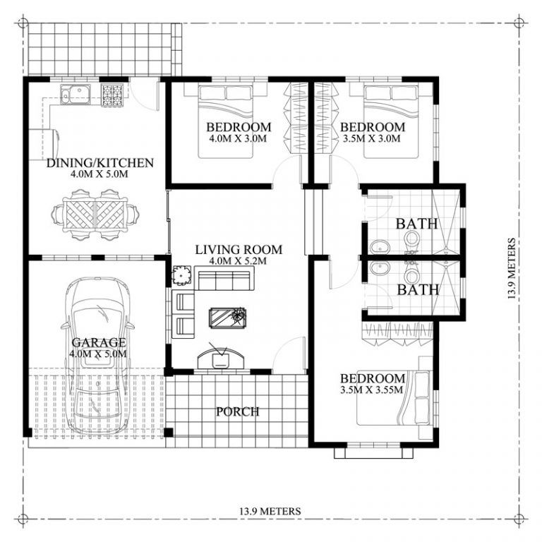 Hasinta Bungalow House Plan With Three Bedrooms Pinoy House Plans Modern Bungalow House Bungalow House Design Bungalow House Plans