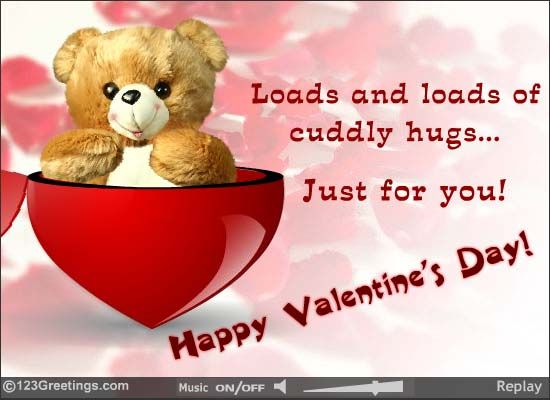 Teddy Heart Hugs Happy Valentines Day Card Valentine Fun Valentines Cards