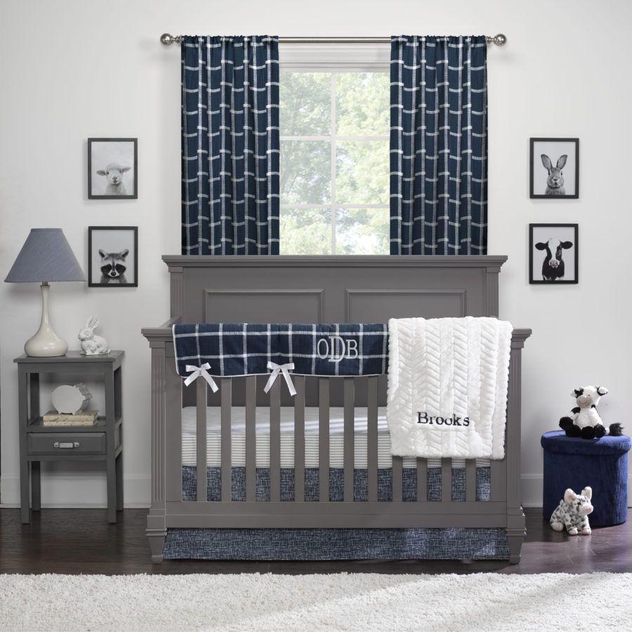 Modern Farmhouse Baby Bedding Navy White Crib Bedding Farmhouse Baby Bedding Boys Crib Bedding Sets Bumperless Crib Bedding