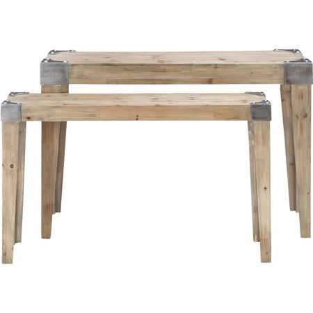 industrial wood and metal console tables