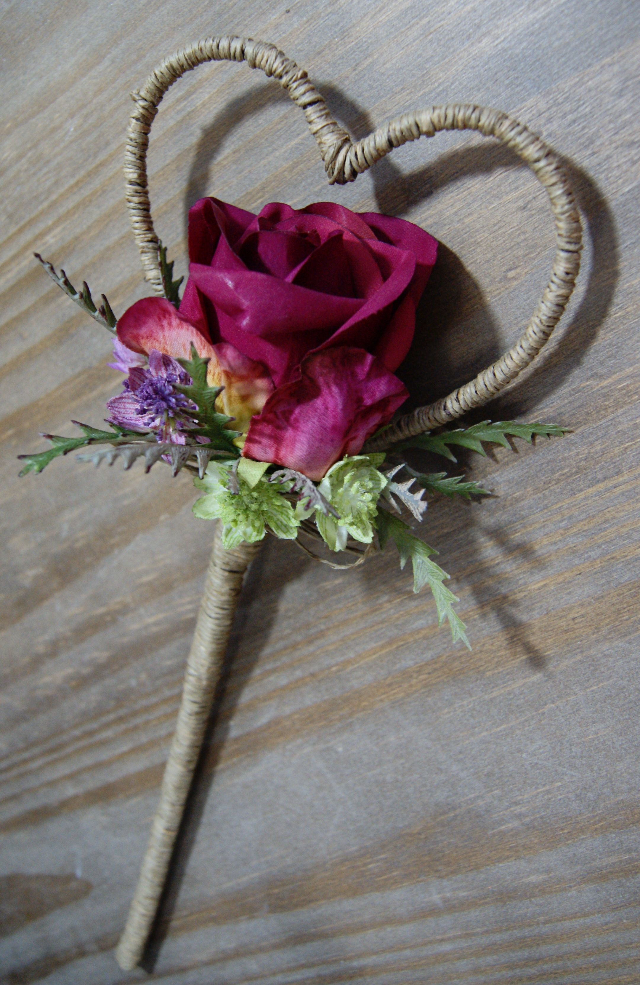 Wedding Flowers - Flower Girl Heart Wand in a Rustic Design with Natural Twine - Artificial Flowers