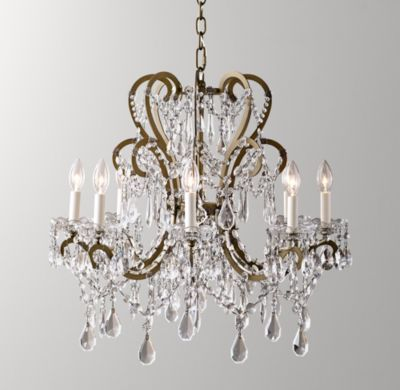 Rh baby s manor court crystal 8 arm chandelier aged goldinspired