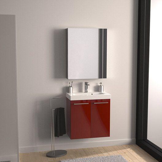 Meuble de salle de bains Remix rouge rouge n°3 61x35.5 cm, 2 ...
