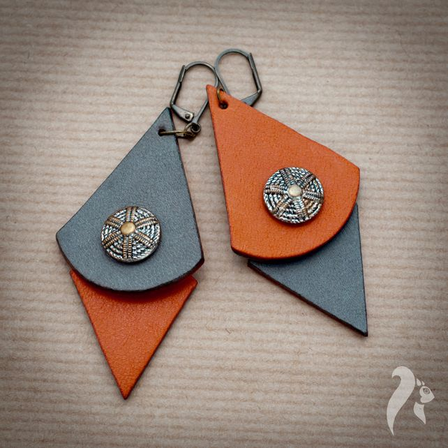 Vintage Buttons Leather and Nubuck Earrings