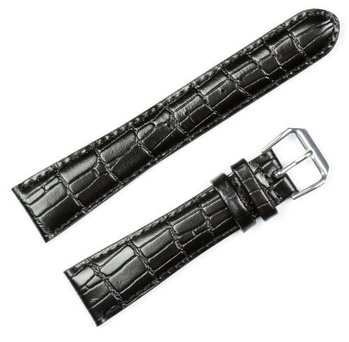 """Wild Alligator Grain Watch Band Black 18mm Watch band - by deBeer. 18mm wide where it connects to the watch. (16mm at the buckle). Mens standard length (7.5""""). Fine Italian Leather with rich alligator grain embossing. From the deBeer Europa collection. FREE SHIPPING!."""