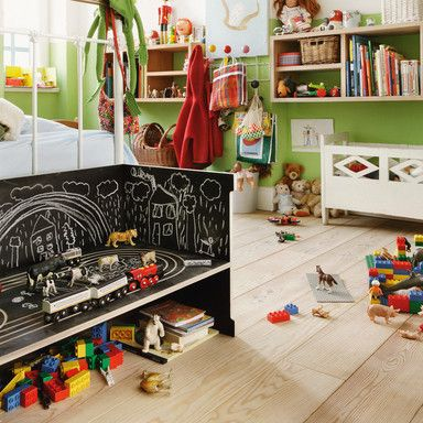 paint some furniture in kids' playroom with chalkboard paint