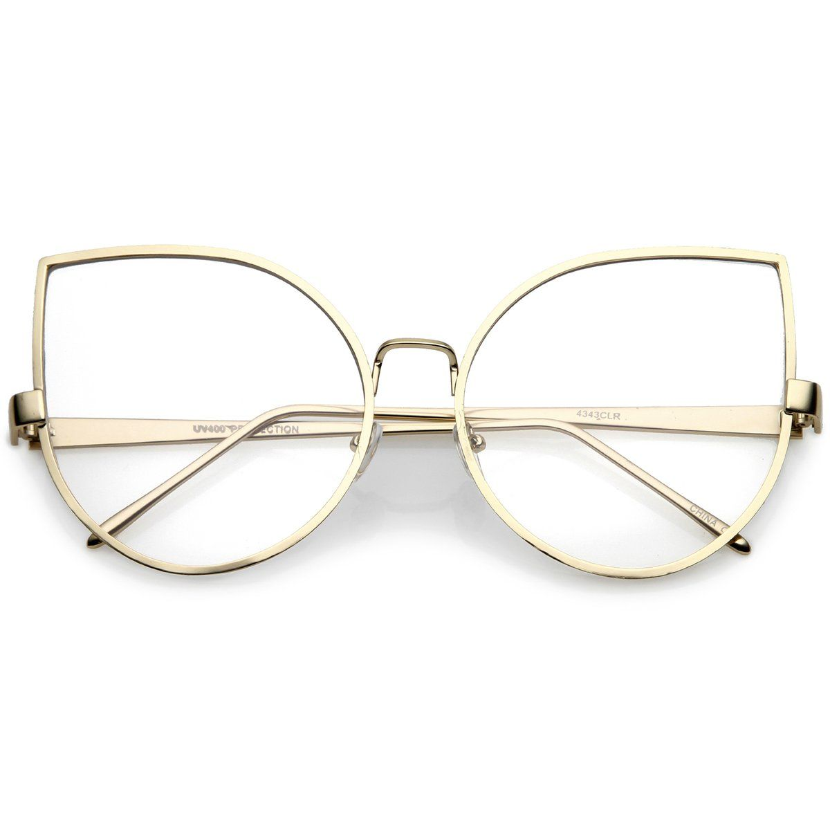 Oversize Metal Cat Eye Glasses With Slim Arms Clear Round