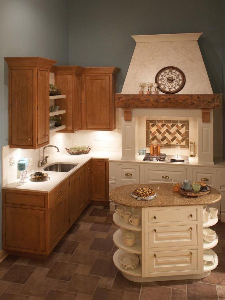 isla pequea con estantes en la cocina pequea moderna