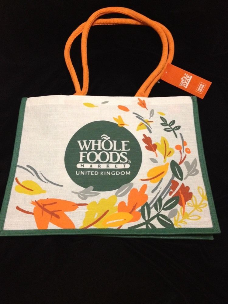 Whole Foods Fall Jute Bag Tote Burlap Uk Gift Reuse England Wholefoods