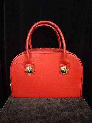 Authentic MCM Munchen RED Monogram Drs Bowler Bag Purse