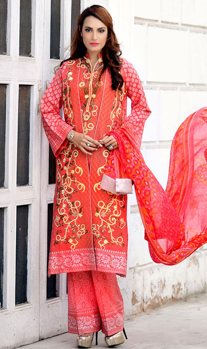 Rust/Pink Embroidered Cotton Lawn Dress - Pakrobe
