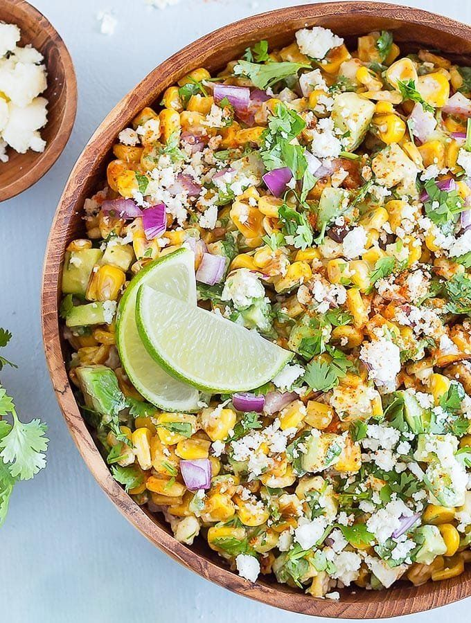 Mexican Street Corn Salad with Avocado #mexicanstreetcorn
