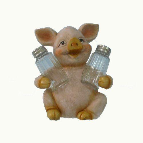"6-3/4"" Piggy Salt & Pepper Shakers by Chesapeake Bay. $21.89. Piggy Salt & Pepper Shakers Are 5-3/4 X 4-1/2 X 6-1/2 Inches Made Out of Poly Stone."
