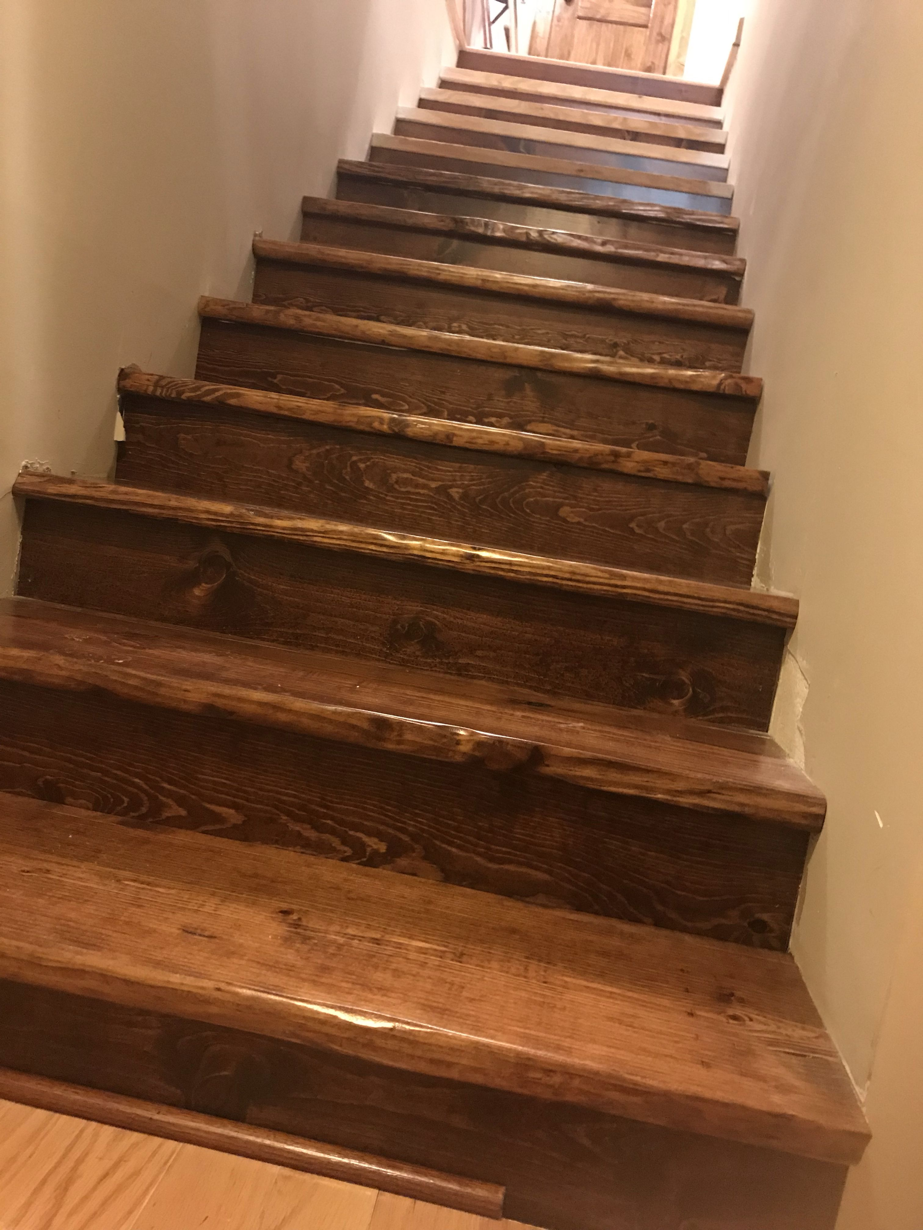 Best Faux Live Edge Stair Treads Made From Pine Boards Rustic 400 x 300