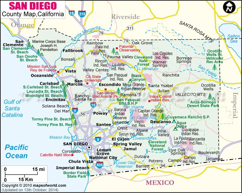 San Diego County Map | PCH in July! | County map, California ...